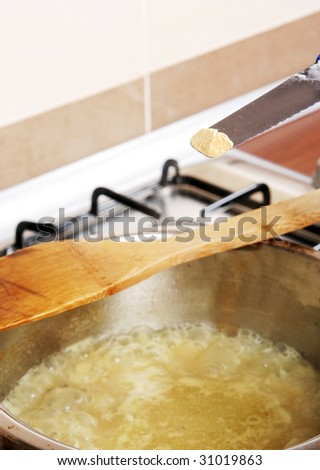 Cooking rice on the cooker