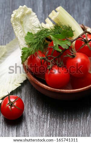 Cooking. Set of raw freshness vegetables on wooden table - stock photo