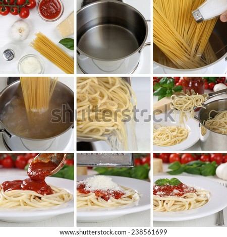 Cooking spaghetti noodles pasta food with tomato sauce and basil step by step instruction - stock photo