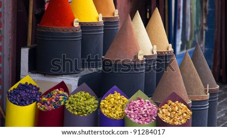 Cooking Spices and flower in local medina market in Fez, Morocco - stock photo