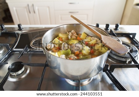 Cooking stew with vegetables and meat on the stove - stock photo