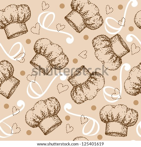Cooking theme seamless pattern with brown chef hat. Raster version. Vector is also available in my gallery - stock photo