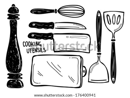 cooking utensil doodle - stock photo