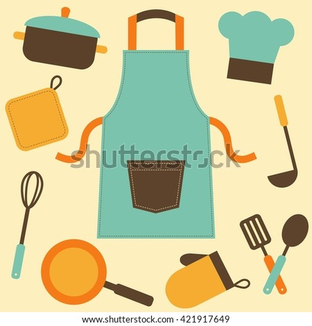 cooking utensils and kitchenware icons. Raster version - stock photo