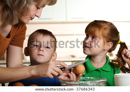 Cooking with kids - stock photo
