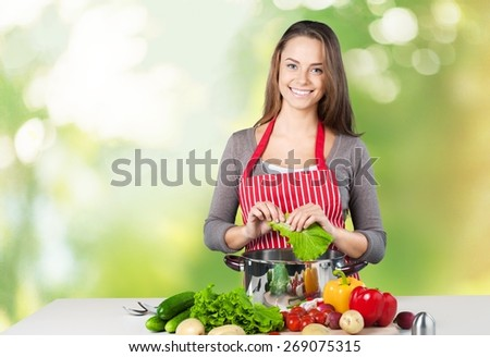 Cooking, Women, Domestic Kitchen. - stock photo