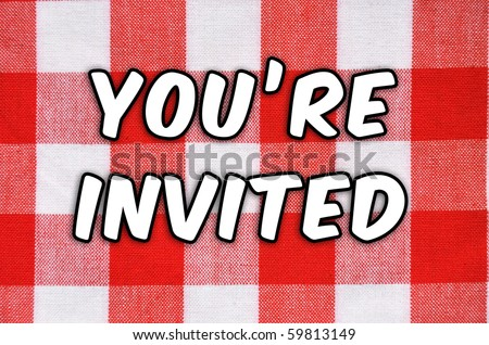 "Cookout / BBQ concept. Classic plaid table cloth ""You're Invited!"""