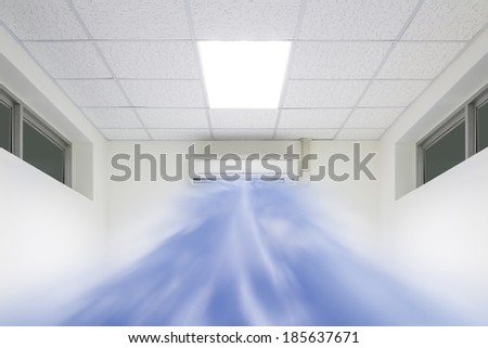 Cool air flow out from air conditioner machine. - stock photo