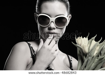 Cool beautiful woman with flowers