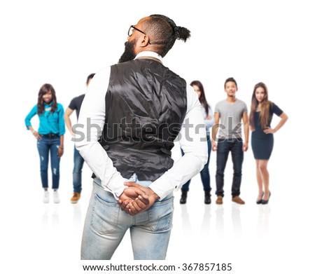 cool black man backward - stock photo