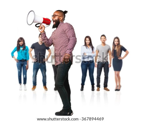 cool black man shouting with megaphone - stock photo