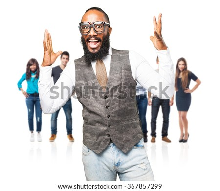 cool black man wearing various glasses - stock photo