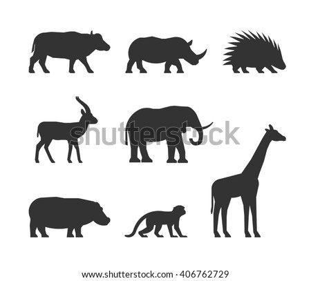 Cool black set of silhouettes african animals. Figure buffalo, rhino, gazelle and porcupine. Silhouette elephant, hippopotamus, monkey and giraffe. Figure african animals isolated.  - stock photo