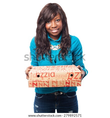 cool black woman holding a pizza boxes - stock photo