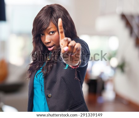 cool black-woman one-gesture - stock photo