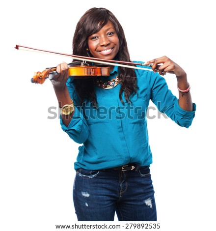 cool black woman playing violin - stock photo