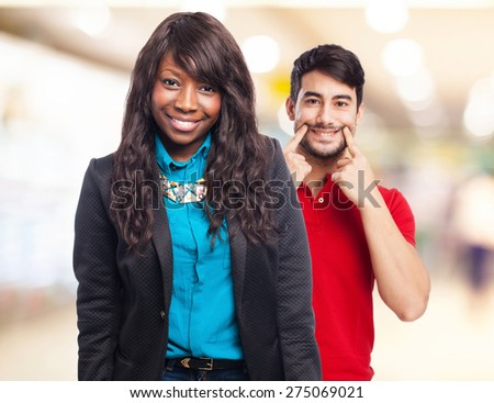 cool black-woman standing - stock photo
