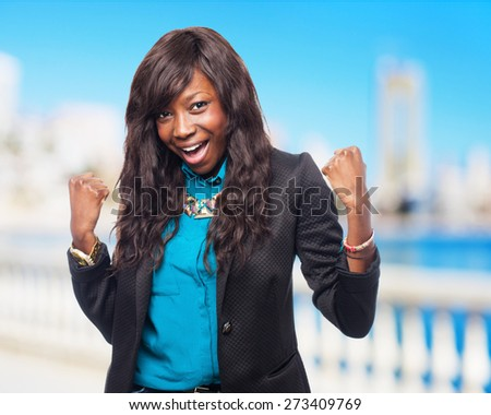 cool black-woman winner - stock photo