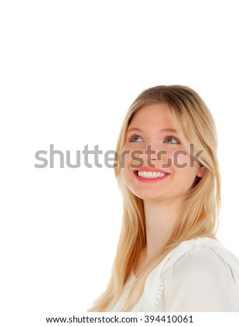Cool blonde girl thinking isolated on a white background