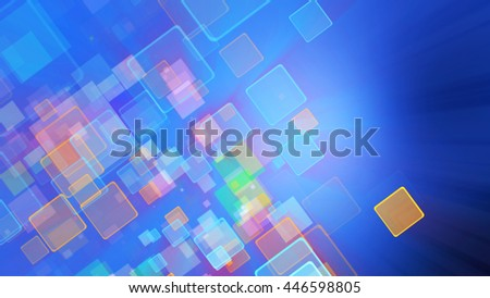 Cool blue color motion background with animated squares. Light ray effect - stock photo
