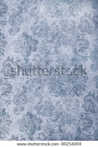 cool blue distressed retro floral wallpaper - stock photo