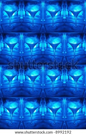 cool blue pattern: martini glass, glass blocks with jack frost wintry ice crystal patterns - stock photo