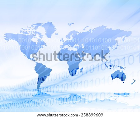 Cool blue world map illustration in zero and one binary background  - stock photo