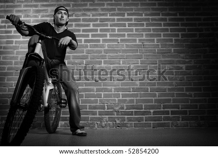 cool boy on bmx bike - stock photo