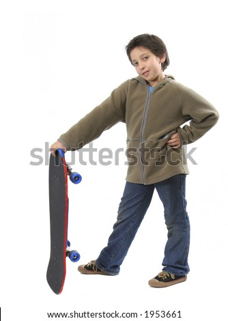 Cool boy posing with his skate. Full body, white background. More pictures of this model at my gallery
