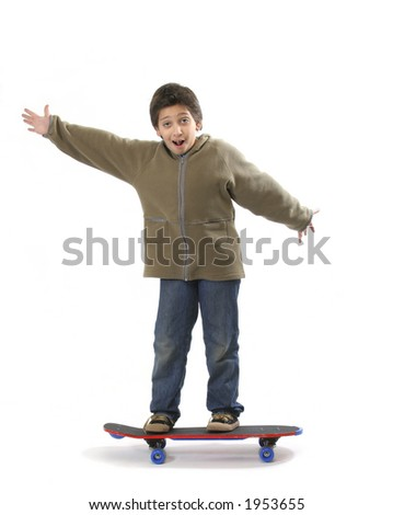 Cool boy skateboarding. Full boy, white background. More pictures of this model at my gallery