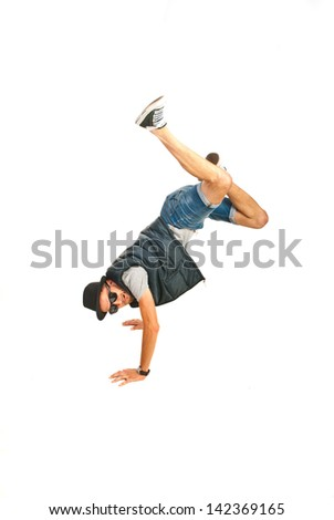 Cool break dancer standing in hands with legs in the air isolated on white background - stock photo