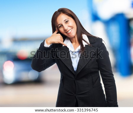 cool business-woman calling sign