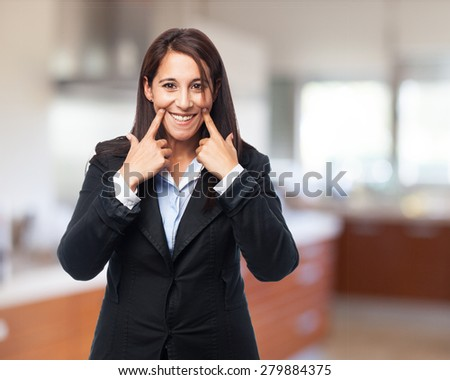 cool business woman smiling - stock photo