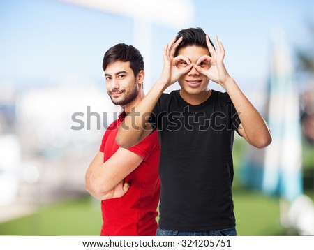 cool chinese-man glasses gesture - stock photo