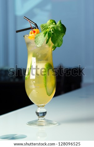 Cool cocktail with cucumber and mint - stock photo
