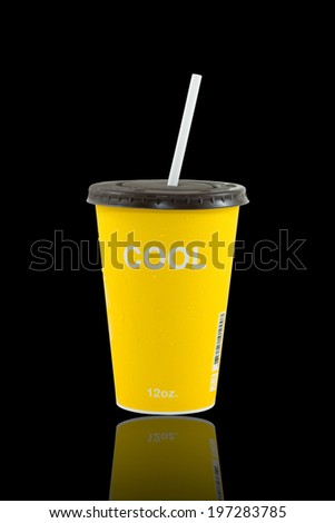 cool coffee  yellow cup isolate on black, Refreshing drinks , Summer drinks - stock photo