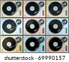 Cool colorful turntables background. 3D render. - stock photo