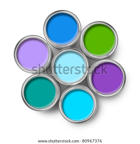 Cool colors paint tin cans opened top view isolated on white - stock photo