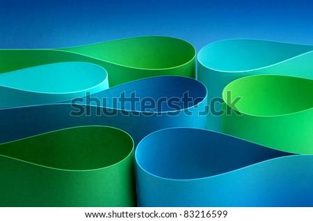 Cool colors palette arc drop wave form papers - stock photo
