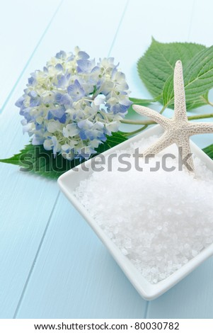 Cool colors reflect a calm, refreshing spa treatment with sea salt bath scrub - includes ample copy space - stock photo