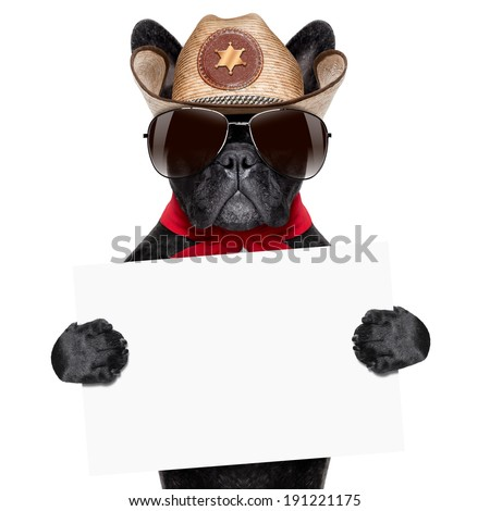 cool cowboy dog holding a white blank big banner or placard - stock photo
