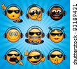 Cool DJ Smileys. Variety funny Deejay Faces for your icons, avatars, logos. - stock vector
