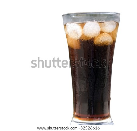 cool drink topped with ice on a glass - stock photo