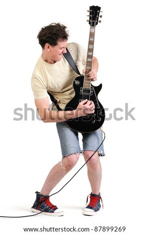 Cool dude guitarist playing his electric guitar on white background