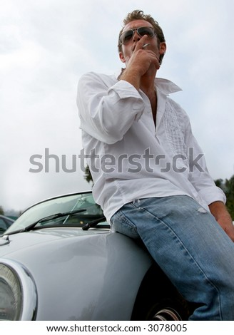 cool dude smoking - stock photo