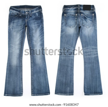 Cool Edgy Women's Vintage Worn Jean Style - Front and Back View - stock photo