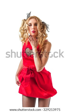 Cool funny blonde woman in red dress ready for party or night out
