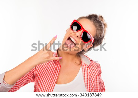 Cool funny sexy girl with glasses gesturing two fingers
