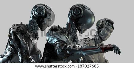 Cool futuristic robotic trio - stock photo