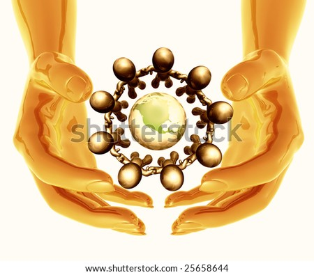 Cool futuristic silver metal hands protecting the recycle icon symbol and figures - stock photo